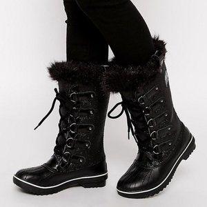 Sorel Tofino Glitter Black Boots Faux Fur Trim